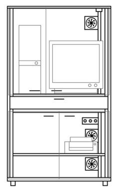 TYP 2 : EDV- Staubschutzschrank für sitzende Arbeiten (rollbar)