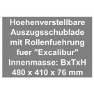 Höhenverstellbare Auszugschublade für Beamerschrank Excalibur