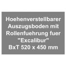 Höhenverstellbarer Auszugsboden mit Rollenführung für Beamerschrank Excalibur